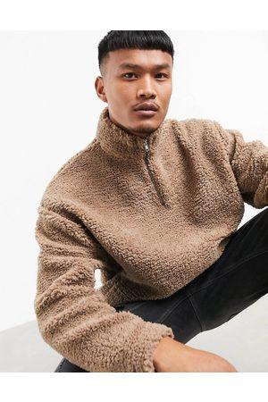 ASOS Oversized half zip track neck sweatshirt in teddy borg