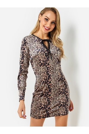 YOINS Leopard Cut Out Round Neck Long Sleeves Dress