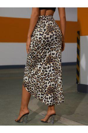 YOINS Leopard Slit Hem Maxi Skirt