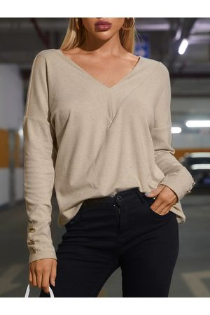 YOINS Apricot Button Design V-neck Long Sleeves Tee