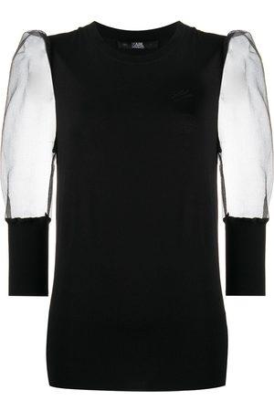 Karl Lagerfeld Sheer sleeves knitted top