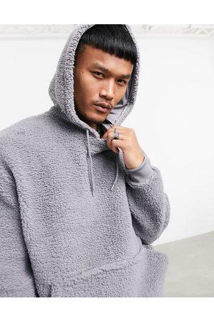 ASOS Oversized hoodie in teddy borg