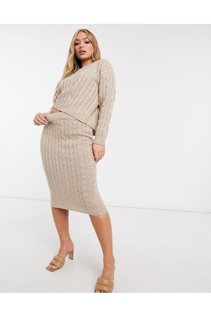 Femme Luxe Cable knitted jumper and midi skirt co ord in biscuit-Neutral