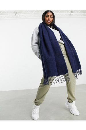 ASOS Women Scarves - Supersoft long woven scarf with tassels navy