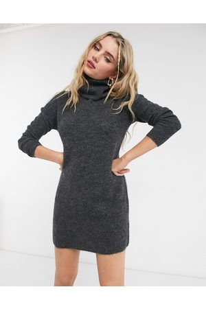Only Jumper dress with roll neck in grey