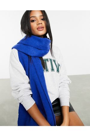 ASOS Supersoft long woven scarf with raw edge in cobalt
