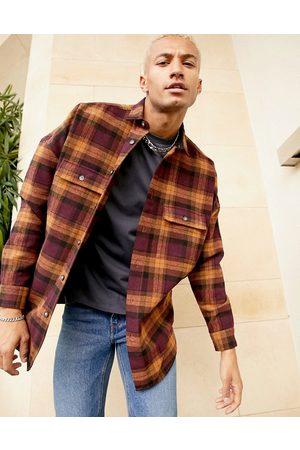 ASOS 90s oversized wool heavy check shirt in burgundy