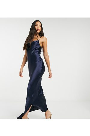 ASOS ASOS DESIGN Tall cami maxi slip dress in high shine satin with lace up back