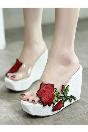 YOINS Embroifery Wedges Floral Print Slippers