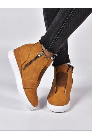 YOINS Wedges Zip Design Casual Single Shoes