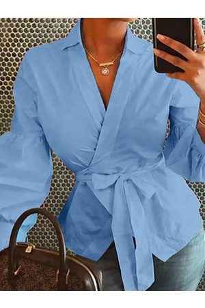 YOINS Bowknot V-neck Lantern sleeves Blouse
