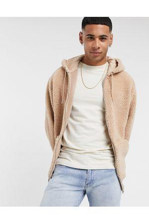 ASOS Oversized zip up hoodie in teddy borg