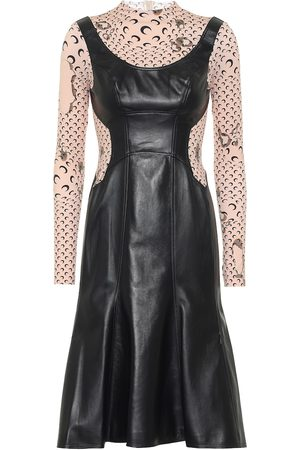 Marine Serre Printed leather and jersey dress