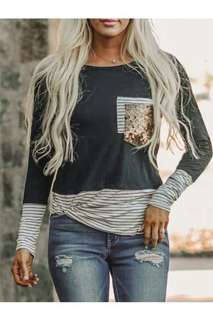 YOINS Striped Patchwork Sequins Embellished Crew Neck Long Sleeves Tee