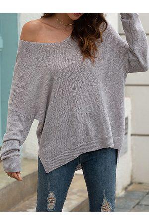 YOINS Casual Split Design V-neck Long Sleeves Sweater