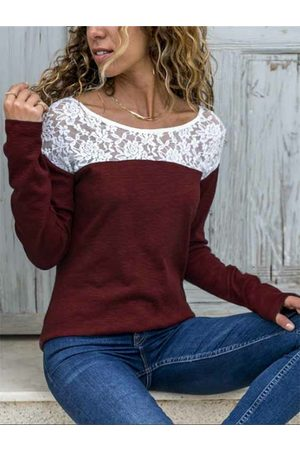YOINS Red Lace Patchwork Round Neck Long Sleeves Tee