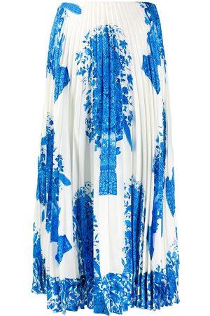 VALENTINO Women Printed Skirts - Ceramic print pleated midi skirt