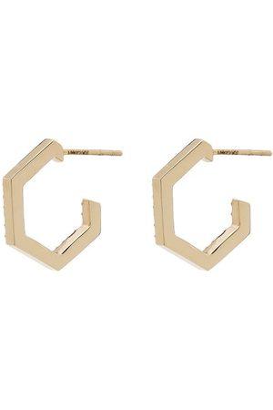 LOREN STEWART Diamond-embellished hexagon earrings