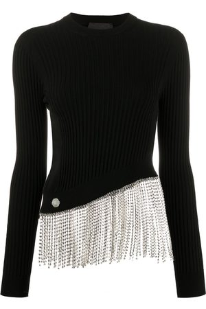Philipp Plein Crystal-hem ribbed top