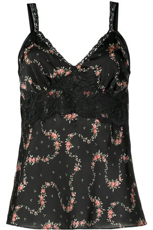Paco rabanne Flower Garland satin cami top