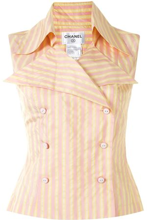 CHANEL 2004 striped sleeveless shirt
