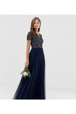Maya Bridesmaid v neck maxi tulle dress with tonal delicate sequins in