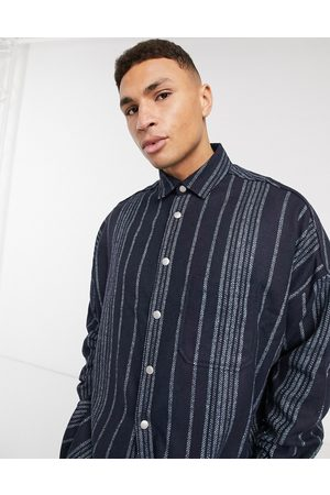 ASOS Wool mix extreme oversized stripe shirt in texture