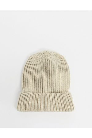 My Accessories London ribbed beanie in oatmeal