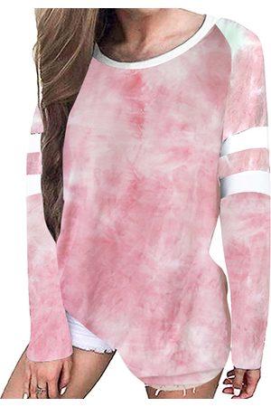YOINS Pink Tie Dye Striped Crew Neck Long Sleeves Tee