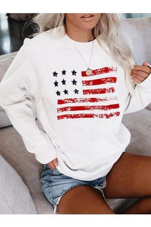 YOINS White Star Striped Crew Neck Long Sleeves Sweatshirt