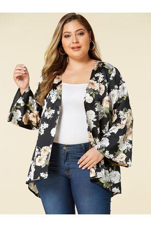 YOINS Plus Size Random Floral Print Long Sleeves Kimono