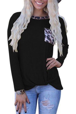 YOINS Leopard Patchwork Pocket Twist Crew Neck Long Sleeves Waffle Knit Top