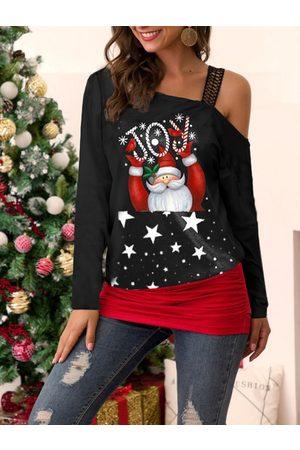 YOINS Santa Claus Cartoon One Shoulder Long SLeeves Tee