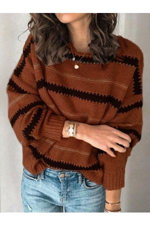 YOINS Fashion Striped Crew Neck Long Sleeves Sweater