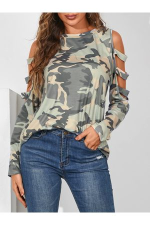 YOINS Army Green Camo Cut Out Cold Shoulder Long Sleeves Sweatshirt