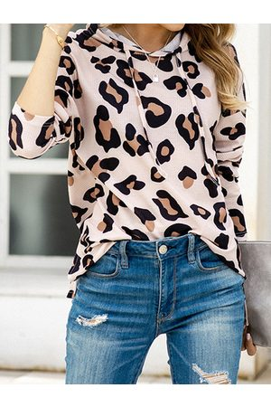 YOINS Leopard Waffle Knit Long Sleeves Hoodie