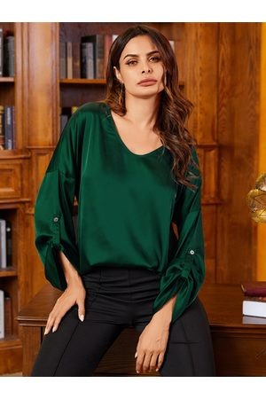 YOINS Green Satin Round Neck Long Sleeves Blouse