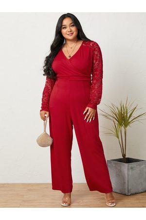 YOINS Plus Size Halloween V-neck Wrap Design Lace Long Sleeves Jumpsuit