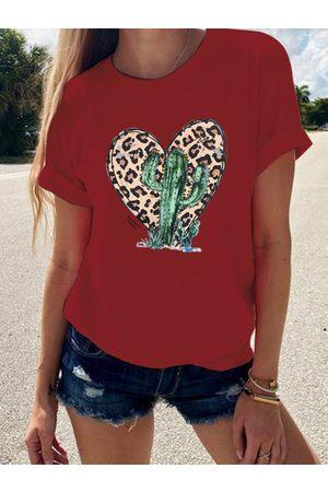 YOINS Leopard Heart Cactus Print Crew Neck Short Sleeves Tee