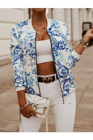 YOINS Random Floral Print Zip Front Long Sleeves Jacket