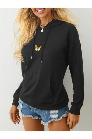 YOINS Black Pocket Design Pullover Long Sleeves Hoodie