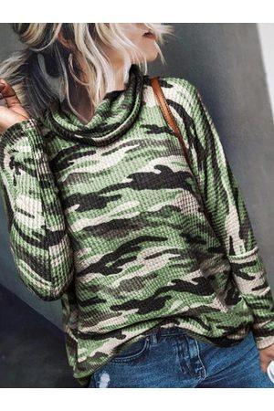 YOINS Army Green Camo Chimney Collar Long Sleeves Knit Top
