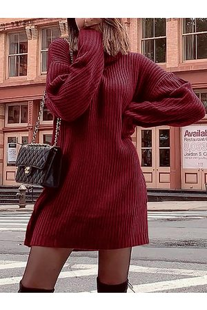 YOINS Turtleneck Long Sleeves Knitted Dress