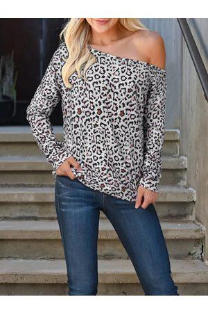 YOINS Khaki Leopard One Shoulder Long Sleeves Tee
