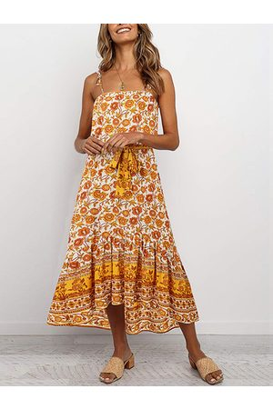 YOINS Tropical Backless Belted Lace-up Design Square Neck Sleeveless Dress