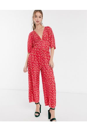 ASOS Kimono sleeve plisse jumpsuit in red floral print