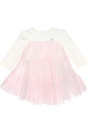 MONNALISA Baby Printed Dresses - Baby velvet leopard-print tulle dress