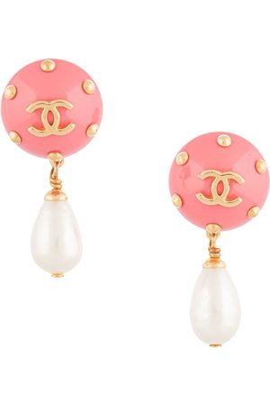 CHANEL 1996 CC pearl pendant earrings