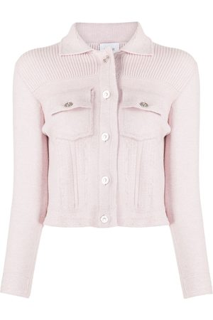 Barrie Ribbed panel knitted cardigan