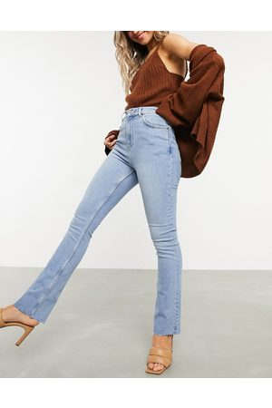 ASOS High rise stretch 'effortless' crop kick flare jeans in lightwash